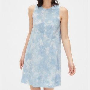 Gap Blue Tie Dye Print Tank T-Shirt Shift Dress